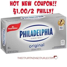 I am loving the new $1.00/2 Philadelphia Cream Cheese coupon to print today! Time to stock up for all those yummy recipes!  Click the link below to get all of the details ► http://www.thecouponingcouple.com/new-1-002-philly-cream-cheese-coupon/  #Coupons #Couponing #CouponCommunity Visit us at http://www.thecouponingcouple.com for more great posts!