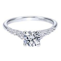 14k White Gold Contemporary Straight Engagement Ring