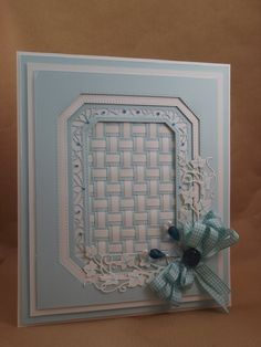 John Next Door April 2015 Classic Weaving, Striped Weaving, Noble Ornate Pierced Rectangle, Greek Border and Tag 3d Cards, Cool Cards, Spellbinders Cards, Sue Wilson, Card Companies, Card Tutorials, Card Sketches, Card Tags, Hobbies And Crafts