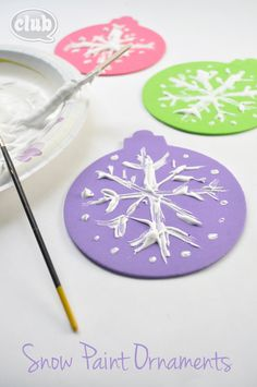 """Snow Paint ornaments - mix elmer's glue and shaving cream for a cool snowy """"puffy"""" paint. So fun!"""
