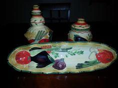 Pamela Gladding Vegetable Harvest Cruet Garlic Keeper Vegetable Bread Tray #PamelaGladding