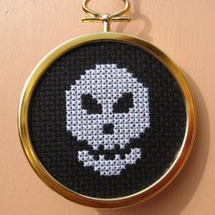 Handmade Cross Stitch Halloween Skull by RikkasCreations on Etsy