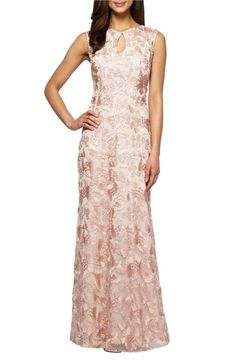 4617d8ccfd Alex Evenings Embroidered Capsleeve Formal Gown Peach Petite Size 16P  Formal Dresses For Women, Formal