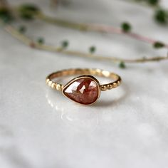 Copper Red Diamond Ring, Pear Rose Cut Diamond, 14k Yellow Gold Dotted Band, Unique Engagement Ring, Modern Bride, Handmade Jewelry by ShopClementine on Etsy https://www.etsy.com/listing/237537008/copper-red-diamond-ring-pear-rose-cut