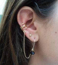 earrings with earcuff gold or silver / gold by AlcazarDesigns #earcuff #earrings #chainearrings