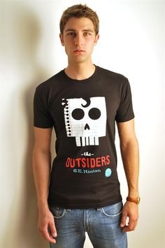 The Outsiders book cover t-shirt - $28.     They have a woman's version, I want both though. LOVE this book.