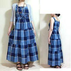 ギャザー切替で裾に向かって広がっていくティアードワンピース型紙。婦人用サイズ 9R~15R。太めの肩ひも、小さなボタン開きがかわいいデザイン。そして、胸下に通した共ひもを、きゅっと結んだり緩めたりして、脱着できるデザインです。ティアードスカートにもアレンジできます。