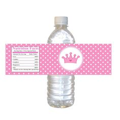 INSTANT DOWNLOAD Princess Birthday Party Water Bottle Labels - Pink Crown Polka Dots 1st Birthday Party Favors Bottle Wrappers 2nd Birthday by pinkthecat on Etsy https://www.etsy.com/listing/177975249/instant-download-princess-birthday-party