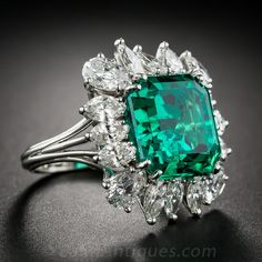 9.06 Carat Emerald and Diamond Ring - AGL Certified (Insignificant to Minor Treatment) - Shop for Jewelry