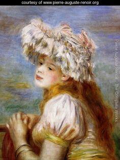 Girl In A Lace Hat - Pierre Auguste Renoir - www.pierre-auguste-renoir.org