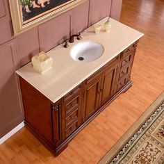 Silkroad Exclusive 58-inch Crema Marfil Marble Top Single Sink Bathroom Vanity | Overstock.com Shopping - The Best Deals on Bathroom Vanities