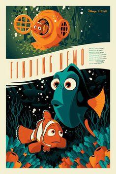 Pixar Disney Tom Whalen Mondo Poster Affiche Nemo Plus Disney Vintage, Retro Disney, Modern Disney, Vintage Cartoon, Tom Whalen, Disney Movie Posters, Disney Movies, Pixar Poster, Film Posters