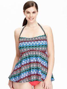 Women's Plus Mixed-Print Tankini Tops Product Image