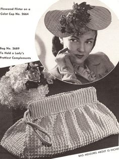 Vintage Crochet  Hat Calot & Bag Clutch Purse Pattern DramaHatBag $8.99