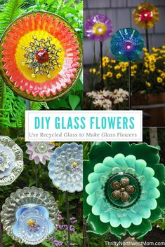 Flower Garden Use recycled glass to make your own DIY glass flowers for frugal garden decor. - Use recycled glass to make your own DIY glass flowers for frugal garden decor. Glass Garden Flowers, Glass Plate Flowers, Glass Garden Art, Flower Plates, Diy Flowers, Glass Art, Spring Flowers, Garden Stones, White Flowers