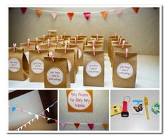 tiny garland and tiny party favors.
