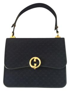 Rare Vintage Gucci Handbags Top Handle Navy Blue Satchel Save 72 On The