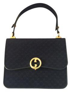 eca467867be Gucci Top Handle Navy Blue Satchel. Save 72% on the Gucci Top Handle Navy