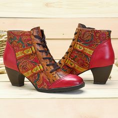 aefa7343e33b SOCOFY Bohemian Splicing Flower Pattern Lace Up Zipper Ankle Leather Boots  is hot-sale. Come to NewChic to buy womens boots online.