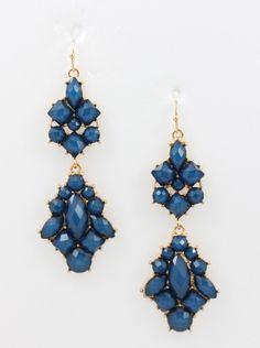 Royale Earrings- Navy Navy Earrings, Drop Earrings, Chandelier Earrings, Gold Accents, Blue And White, Boutique, Clothes For Women, Jewelry, Outerwear Women