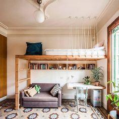 Room Ideas Bedroom, Small Room Bedroom, Bedroom Decor, Bed Rooms, Loft Bed Room Ideas, Loft Ideas, Spare Room, Modern Bedroom, Loft Room