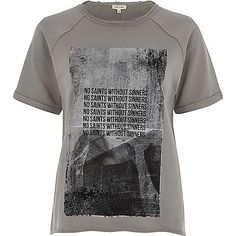Grey jersey printed T-shirt