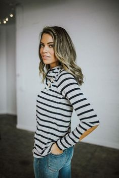 Patching Things Up Striped Cowl Neck Top – b ö h m e