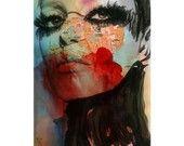 Watercolor Painting - Print Mixed Media - Face Fashion. $65.00, via Etsy.