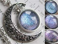 Electron   Filigree Necklace  Crescent Moon  by DarkMatterJewelry, $29.00