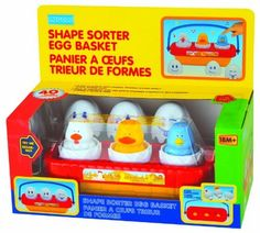 megcos Shape Sorter Egg Basket by megcos. $19.42. From the Manufacturer                Megcos Toy Company Ltd, educational products item 1288 - SHAPE SORTER EGG BASKET. See item description below for further details.                                    Product Description                This pretty toy, ''Shape Sorter Egg Basket'' by Megcos Toy Company LTD, will help you r little one develop color and shape recognition skills while offering hours and hours of fun as they ...