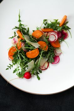 Pickled Persimmon, Radish, and Arugula Salad - lemon fire brigade