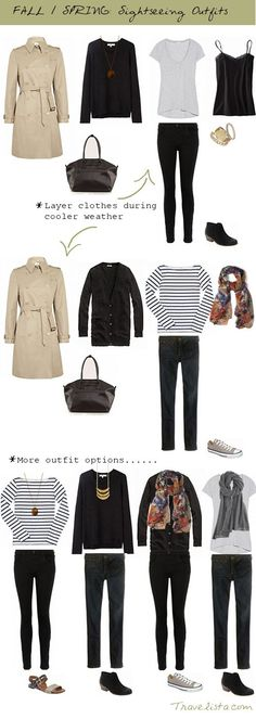 Check out these suggestions for sightseeing or other travel-comfort wear: leggings, loose tops, comfortable shoes, shoulder tote bags for your camera and other items.Perfect classic fashion travel wardrobe