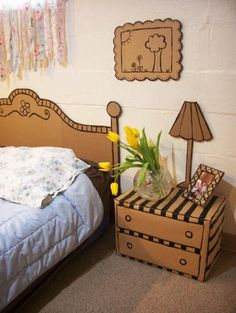 DIY Cardboard Bedroom Suite - Furniture I can afford, kind of reminds my of my bedroom when I moved here 14 years ago, thanks Ted...lol