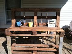 Garden Work Bench - Pallet Potting Bench / Station. We will sacrifice one raised bed to make a work station.