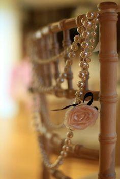 47 Chic Pearl Wedding Ideas - Decoration World Gatsby Wedding, Chic Wedding, Wedding Blog, Wedding Details, Our Wedding, Dream Wedding, Paris Wedding, Wedding Chair Decorations, Wedding Chairs