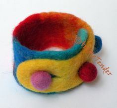 Felt Cuff (bracelet) vividly rainbow colored, wet felted merino wool, yellow, orange, red, blue,turquoise three buttons