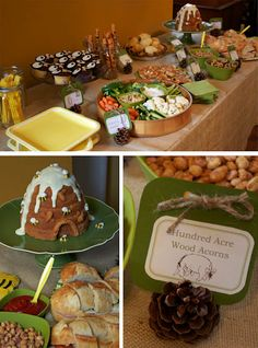 Winnie the Pooh Party- Rabbit's garden for veggie tray, tigger tails pretzel rods and owil cupcakes with oreos...