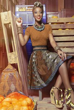 Lena Hoschek, Ethiopia Skirt, African Fashion, Earth tones