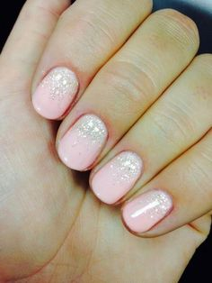 Frosted Pink Nails with Glitter.