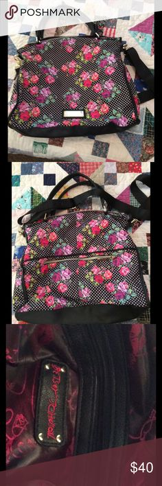 Betsey Johnson X-Body Tote Beautiful large purse or travel tote in pink roses with two slip and a zip inside and an outside zip pocket. New without tags!, Betsey Johnson Bags Totes