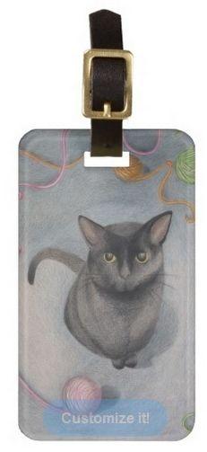 Cat with Yarn Luggage Tag; Abigail Davidson Art