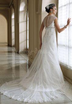 lace sheath/column jewel neck cap sleeves with crystal floor-length wedding dress - Dreamy-dress.com
