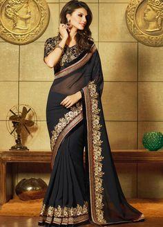 #Stunning and #Beautiful Black Colour Saree #Georgette @ Manndola.com