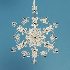 "Stunning Stellar Dendrite Snowflake - White Quilled / Filigree ""Lighting up the World Snowflake"" - Christmas Holiday Tree Ornament"