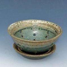 Green Pottery Berry Bowl by GammelHousePottery on Etsy