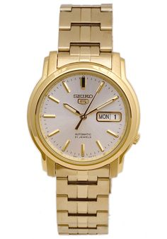 Price:$86.56 #watches Seiko SNKK74K1, This Seiko Automatic Timepiece is a great find. Gold Plated, with automatic movement and Day/Date.