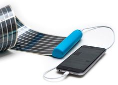 HeLi-on Compact Solar Charger - The pocket-sized HeLi-on charger uses flexible, printed solar cells to power your phone. The OPV solar cells are printed on a thin sheet of plastic that rolls out to charge your phone with 2-3 hours of sunlight & when you're done, it retracts into the slim, cylindrical case. | werd.com