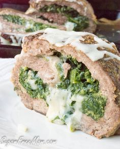 Low Carb Gluten Free Cheesy Spinach Stuffed Meatloaf- http://sugarfreemom.com