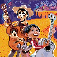 #094 Coco Purple Aesthetic, Aesthetic Anime, Perler Bead Disney, Landscape Illustration, Crafts To Do, Disney Pixar, Pixel Art, Wallpaper Backgrounds, Cross Stitch