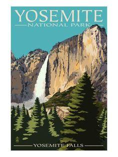yosemite national park vintage   Yosemite Falls - Yosemite National Park, California Prints by Lantern ...